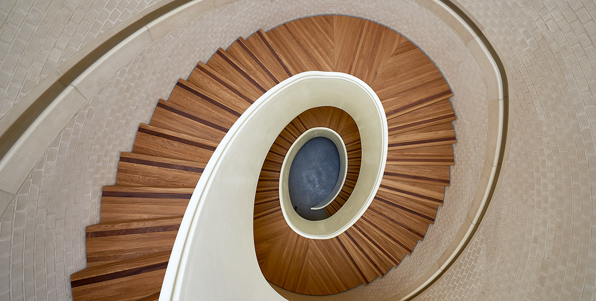 Lime Green Lime Mortar was used here in the stunning spiral stairwell at the Newport St Gallery, Vauxhall, London